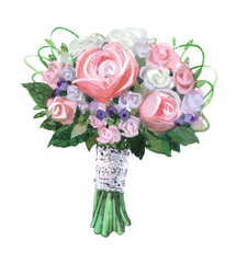 Bridal bouquet Watercolor illustration isolated on white background.
