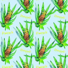 Pineapple plant with fruit and bright yellow inscription, seamless pattern design, hand painted watercolor illustration, soft blue background