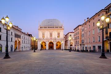 Brescia italian city near Garda lake main square called piazza loggia Fototapete