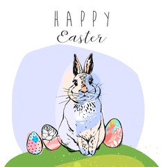 Easter Sale banner or print with cute hand drawn text and Bunny in vector. Inspirational poster. Spring trendy background. Discount design.
