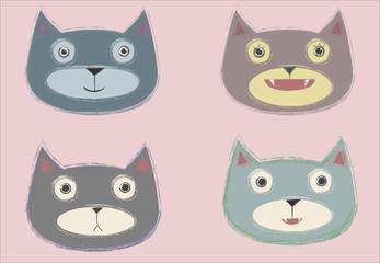 cute colorful cat illustration set
