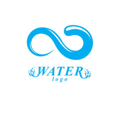 Global water circulation vector logo for use as marketing design symbol. Human and nature coexistence concept.