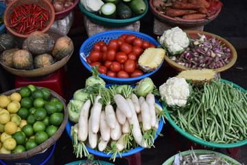 Traditional local food market in Hoi An in Vietnam, Asia