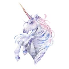 Graphic low poly unicorn