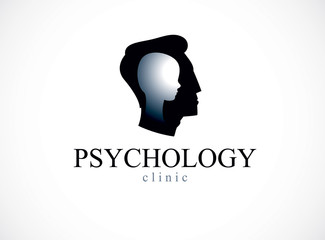 Psychology vector logo created with man head profile and little child boy inside, inner child concept, origin of human individuality and psychic problems. Psychotherapy and psychoanalysis concept.
