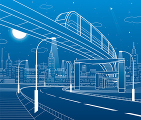 Monorail railway. Illuminated highway. Transportation illustration. Skyline modern city at background. Night scene. White lines on blue background. Vector design art