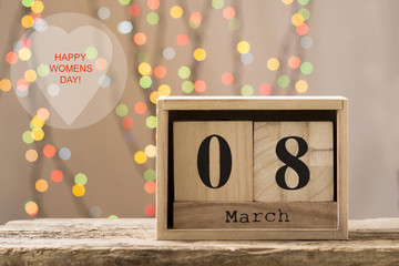 March 8, wooden calendar, happy women's day