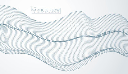 Array of particles flowing, dynamic sound wave. 3d vector illustration. Mesh of blurred dots, beautiful illustration.