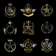 Pentagonal Stars emblems set. Heraldic Coat of Arms, vintage vector logos collection.