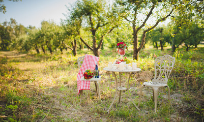 Decorative table and chairs in the nature. On the table is a bottle of wine, fruits, flowers and candles.Decorations for a wedding photo shoot