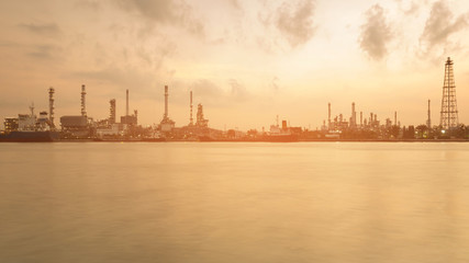 Refinery river front skyline with sunset tone panorama view