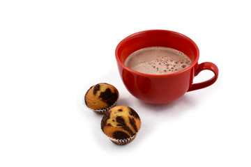 Muffin with cocoa drink stock images. Cup of cocoa on a white background. Red mug of cocoa with snack. Cocoa drink with sweetness