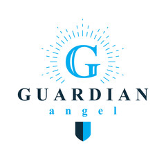 Guardian angel vector conceptual emblem best for use in catechesis organizations.