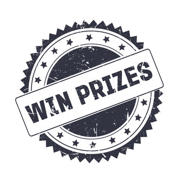 Win Prizes Black grunge stamp isolated
