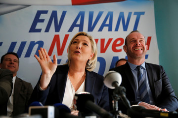 Marine Le Pen, France's far-right National Front (FN) political party leader, attends a news conference in Laon