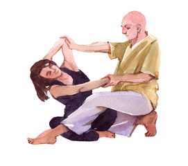 Thai massage scene. Watercolor illustration isolated on white background.