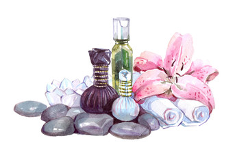 Thai massage accessories. Watercolor illustration isolated on white background.