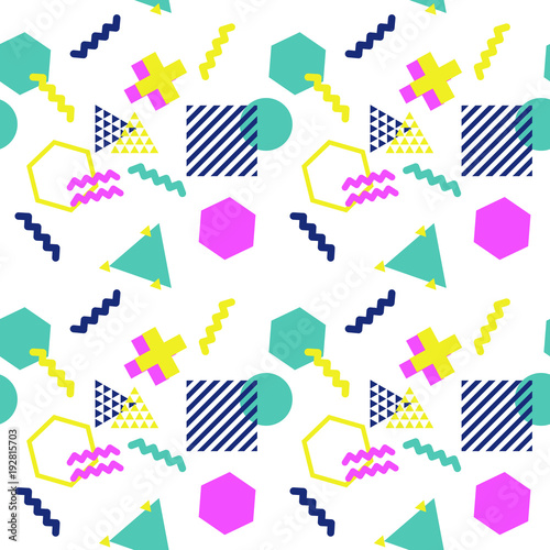 Geometric pattern in bright colours  Vector seamless pattern in 90s