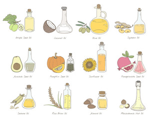 Illustration of different types of oil