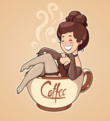 Beautiful girl sit in coffee cup. Pin-up Character for cafe.