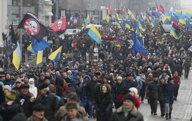 Supporters of Ukrainian opposition figure Saakashvili hold a rally in Kiev