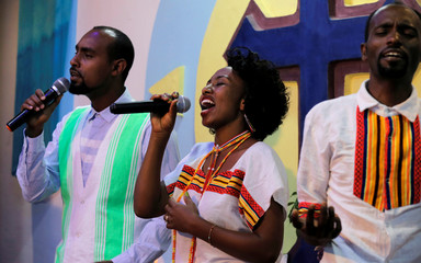 Members of Biiftuu Boolee Lutheran Church choir sing during a worship session in Addis Ababa