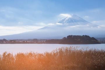 Fuji mountain over lake winter season scean, Japan natural landscape background