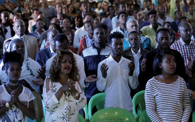 Faithful of the Biiftuu Boolee Lutheran Church attend a worship session in Addis Ababa
