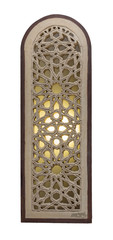 Perforated arched stucco window decorated with stain glass with geometrical patterns, one of the traditions of the Mamluk era