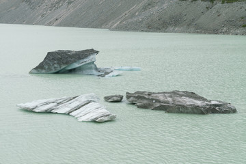 Iceberg breaking from glacier on lake, Fox glacier New Zealand natural landscape background
