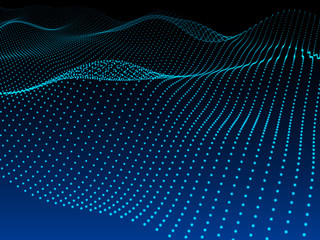 Abstract blue dark background. Wavy structure with dots.