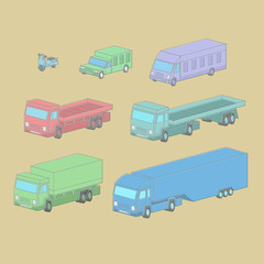 Vector set illustration of vehicle in isometric