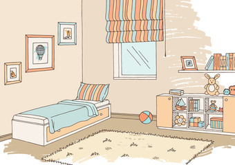 Children room graphic color interior sketch illustration vector