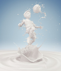 Splash of milk in form of Boy's body action playing football