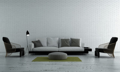 The modern luxury interior design of lounge and living room and white brick wall texture background