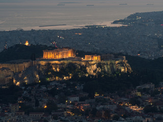 Printed roller blinds Athens Athens cityscape with Acropolis as the main subject