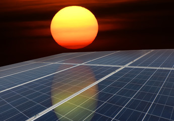 Solar panels or Solar cells energy with the sun for Electric power in Asia.