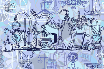 In de dag Imagination Vector seamless pattern with sketch elements related to science or education. Physics or chemistry abstract background with parts of decorative lab tools and equipment. Hand drawn.