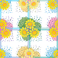 Sunflowers.Decorative floral background, geometric sketch of doodle with ornate lace frame. Seamless pattern tiles. Tribal ornament. Bandana shawl, table cloth printing, silk neck scarf, shawl design