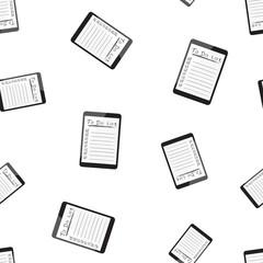 Businessman to do list, checklist with tablet computer seamless pattern background. Business flat vector illustration. Checklist, task list symbol pattern.
