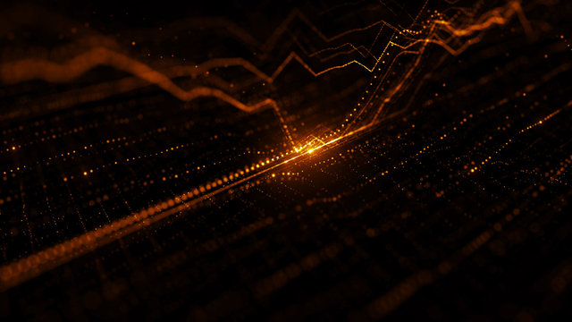 3d render background with graph. Dots form up and down graph forms. Digital finance concept.
