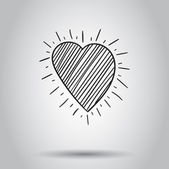 Hand drawn heart icon. Vector illustration on isolated background. Business concept love heart pictogram.