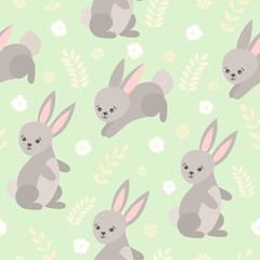 Cute baby pattern with little bunny. Cartoon animal children print vector seamless. Funny kids background with forest hare and flowers for clothing, t-shirt, diaper, pajamas, bedroom textile.