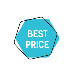 Best Price Lettering on Blue Hexagon