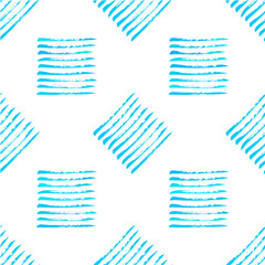 Hand painted blue on white rough texture square seamless pattern, genuine brush on paper, vector