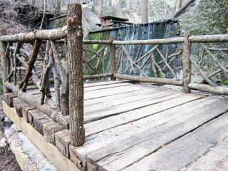 it is a beautiful sight.wooden bridge in nature.landscape