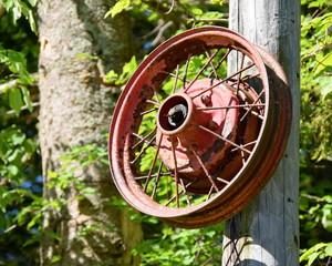 Old Ski Lift Wheel in Warren Vermont