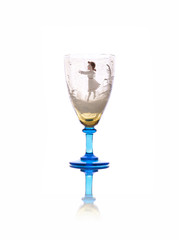 Antique wineglass isolated on white background