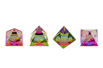 Jin jang glass colored pyramid stock images. Set of colored pyramids stock images. Positive energy ornament. Rainbow jin jang colored pyramid