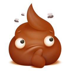 thoughtful emoji poo cartoon character icon